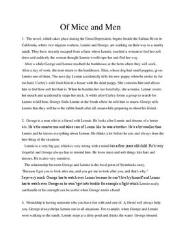 the emotions from the friendship of lennie and george in john steinbecks of mice and men This essay discusses john steinbeck's novel of mice and men and his   characters george and lennie and how lucky they feel to have each other while  the  are feelings that most of the main characters are dealing with due to their.