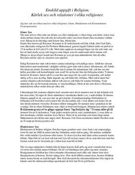 Kärlek, sex och relationer inom olika religioner | Jämförelse