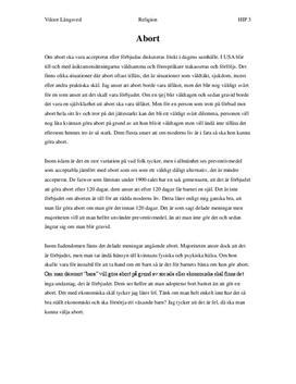 Abort - För eller emot? | Diskuterande text | Sammanfattning