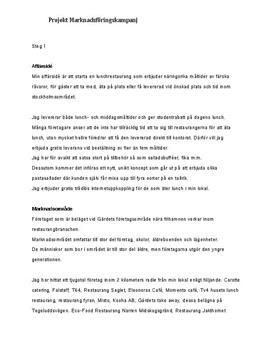 Affärsidé och marknadsundersökning | Inlämningsuppgift