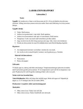 Ekosystem - Labbrapport i Naturkunskap A