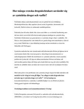 Konsumtionsmönstret av narkotika i Sverige - Syntetiska droger