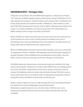 H&M | Fördjupningsuppgift
