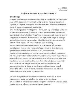 Stress | Psykologiska perspektiv | Inlämningsuppgift