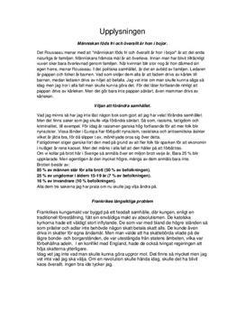 Upplysningen   Rousseau, Frankrike och Kvinnor   Historia A