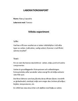 Fotosyntes och cellandning: Vitlöksexperiment - Labbrapport i Naturkunskap A