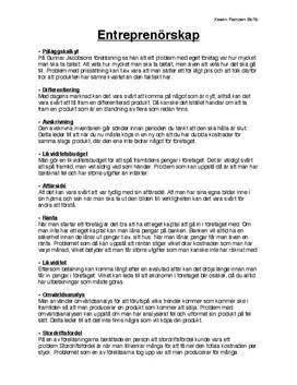 Entreprenörskap | Inlämningsuppgift