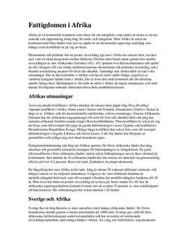 Fattigdomen i Afrika   Fördjupningsarbete