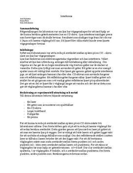 Interferens och gitterkonstant - Labbrapport i Fysik B