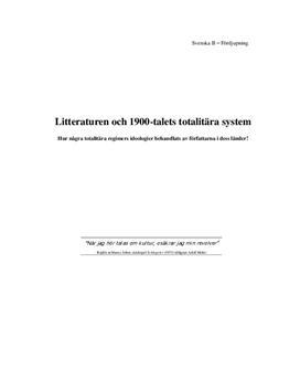 Litteraturen och 1900-talets totalitära system