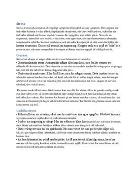Psykologi 1: Stress  | Sammanfattning