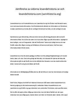 Jämförelse av levandehistoria.se och levandehistoria.com | Källkritik