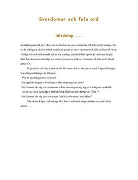Svordomar och fula ord | Fördjupningsuppgift