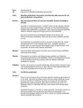Identifiera kolhydrater och protein - Labbrapport i Naturkunskap