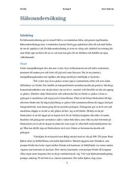 Fördjupningsuppgift: Hälsoundersökning - Biologi B