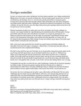 Sveriges neutralitet | Andra Världskriget