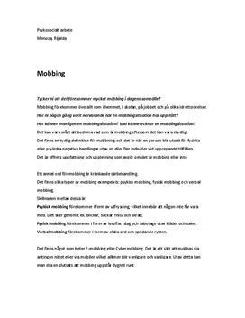 Mobbning | Inlämningsuppgift