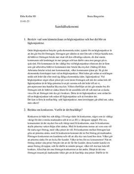 Begrepp inom Samhällsekonomi
