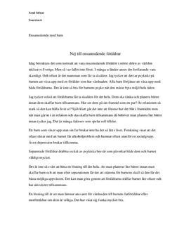 Nej till ensamstående föräldrar | Diskuterande text