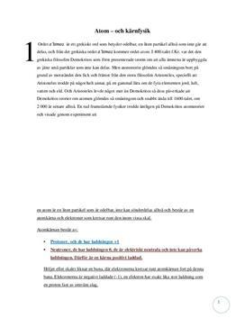 Fördjupningsuppgift: Atomer och radioaktiva ämnen - Kemi, årskurs 9