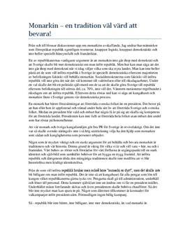 Bevara monarkin | Argumenterande text