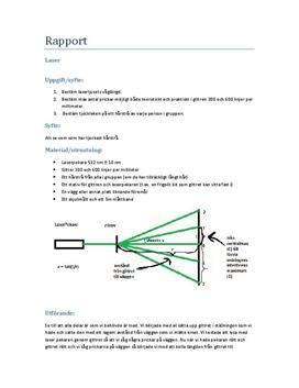 Laser, gitter och optik - Labbrapport i Fysik B