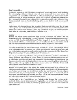 Fördjupningsuppgift: Upplysningen och Voltaire - Svenska