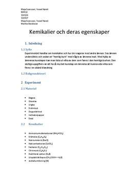 Kemikaliers egenskaper och reaktioner - Labbrapport i Kemi A