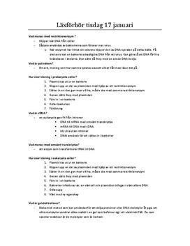 Genteknik - Frågor och svar i Biologi A