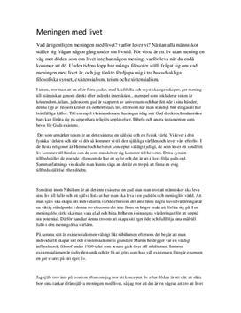 Fördjupningsuppgift: Teism, nihilism och existentialism - Filosofi A