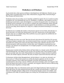 Fördjupningsuppgift: Flodkulturer och Högkulturer - Historia A