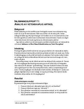 Analys av vetenskaplig artikel - Företagsekonomi B