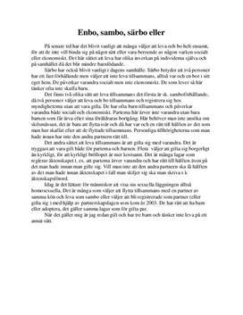 Utredande text: Enbo, sambo och gift - Svenska som andraspråk