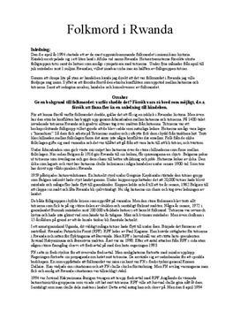 Fördjupningsuppgift: Folkmord i Rwanda - Historia 1b