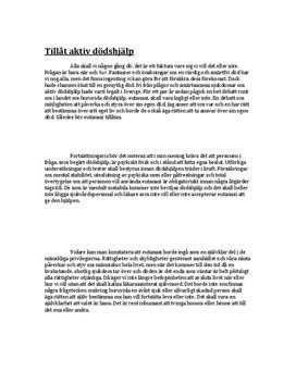 Argumenterande text: Tillåt aktiv dödshjälp - Svenska B