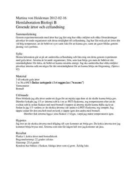 Groende ärtor och cellandning - Labbrapport i Biologi B