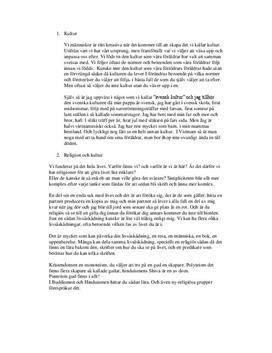 Fördjupningsuppgift: Kultur, Religion och Etik - Religionskunskap