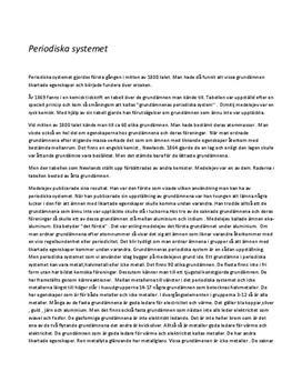 Fördjupningsuppgift: Periodiska systemet - Kemi, årskurs 9