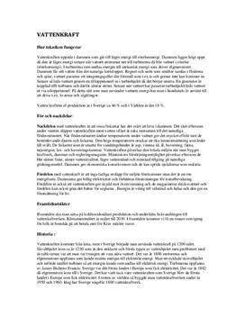Fördjupningsuppgift: Vattenkraft - Naturkunskap A
