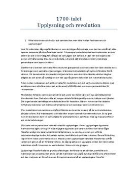 Upplysning och Revolution under 1700-talet | Instuderingsfrågor