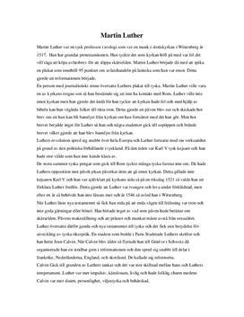 Martin Luther och Protestantismen - Uppsats i Historia