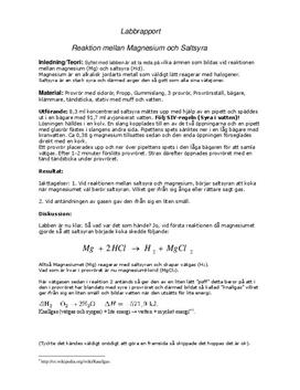 magnesium i saltsyra