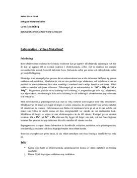 Metalljoner - Labbrapport i Kemi