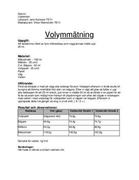 Mätredskap och volymmätning - Labbrapport i Naturkunskap