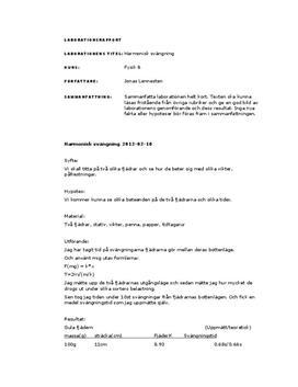 Labbrapport: Harmonisk svängning - Fysik B