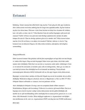 Fördjupningsarbete: Eutanasi (aktiv dödshjälp)
