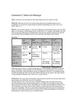 Labbrapport: Salter och Fällningar - Kemi