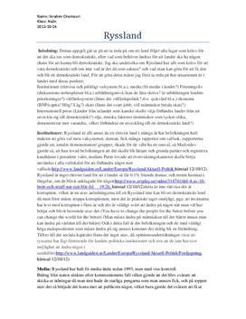 Demokrati i Ryssland - Fördjupningsuppgift i Mänskliga rättigheter