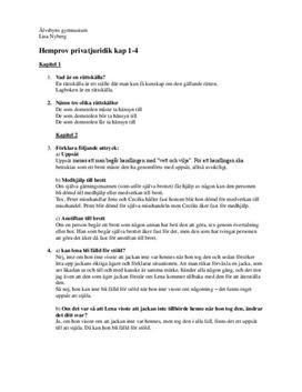 Instuderingsfrågor: Privatjuridik