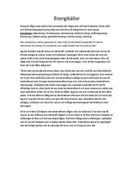 Fördjupning i Naturkunskap: Energikällor
